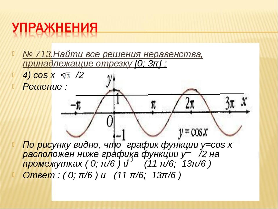 № 713.Найти все решения неравенства, принадлежащие отрезку [0; 3π] : 4) cos x...