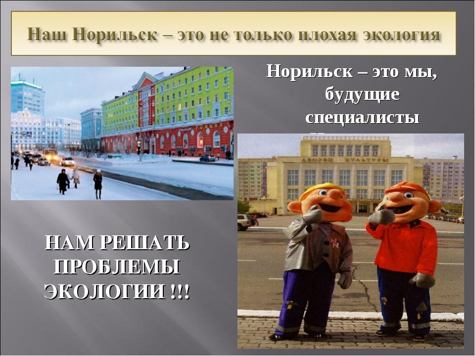 Норильск – это мы, будущие специалисты «Норильского Никеля»! НАМ РЕШАТЬ ПРОБЛ...