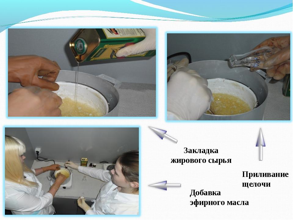 Закладка жирового сырья Приливание щелочи Добавка эфирного масла