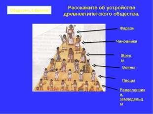 Общество, 5 баллов Фараон Чиновники Жрецы Воины Писцы Ремесленники, земледель