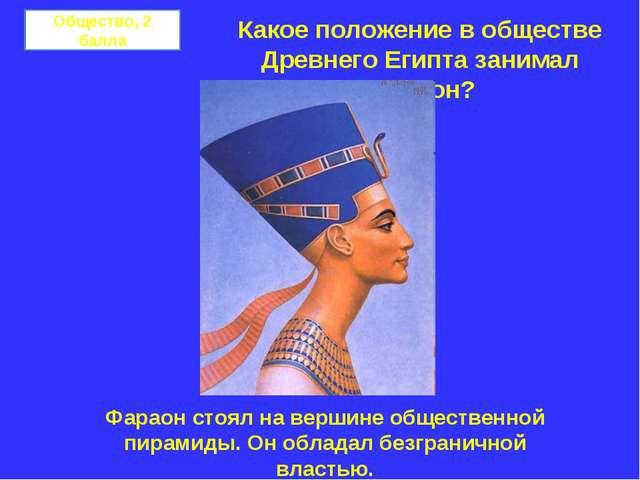 Общество, 2 балла Какое положение в обществе Древнего Египта занимал фараон?...