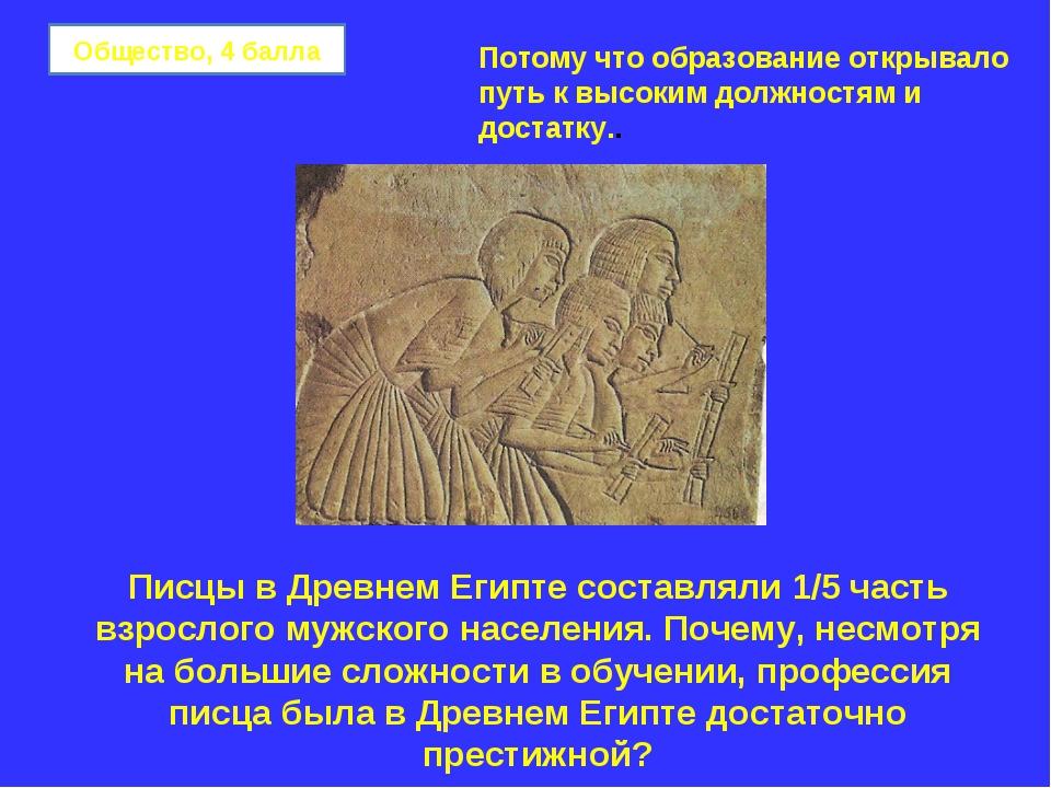 Общество, 4 балла Писцы в Древнем Египте составляли 1/5 часть взрослого мужск...