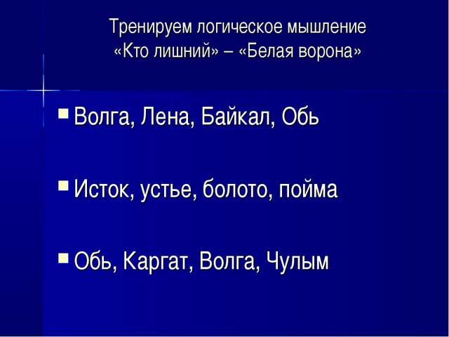 Тренируем логическое мышление «Кто лишний» – «Белая ворона» Волга, Лена, Байк...
