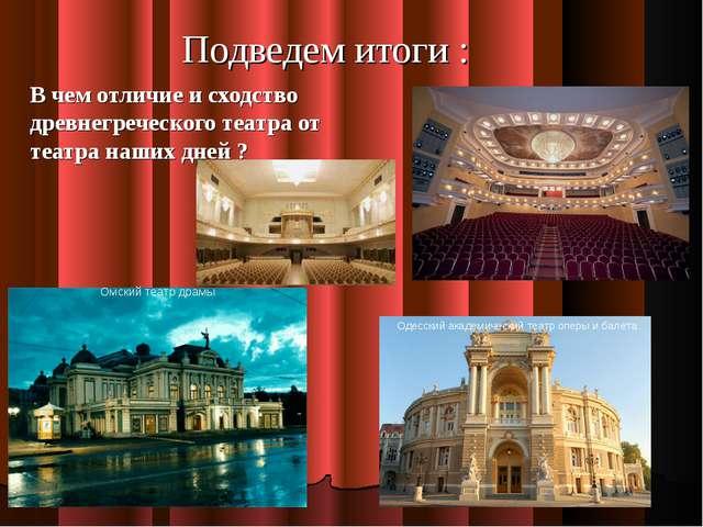 Подведем итоги : В чем отличие и сходство древнегреческого театра от театра н...