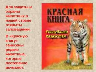 РеспубликиКазахстан Для защиты и охраны животных в нашей стране открыты запов