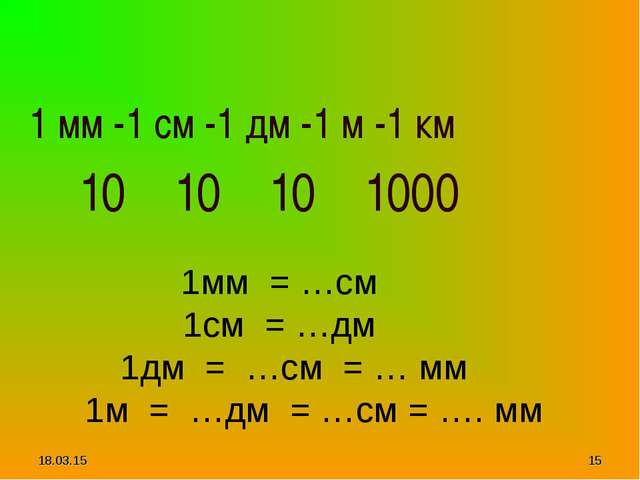 * * 1 мм -1 см -1 дм -1 м -1 км 10 10 10 1000 1мм = …см 1см = …дм 1дм = …см =...