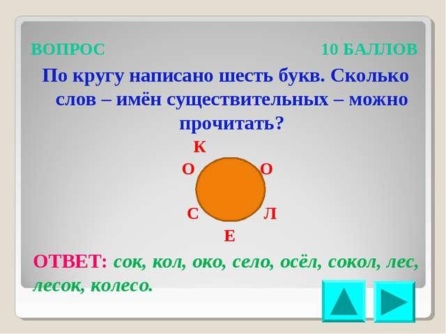 ВОПРОС 10 БАЛЛОВ По кругу написано шесть букв. Сколько слов – имён существите...