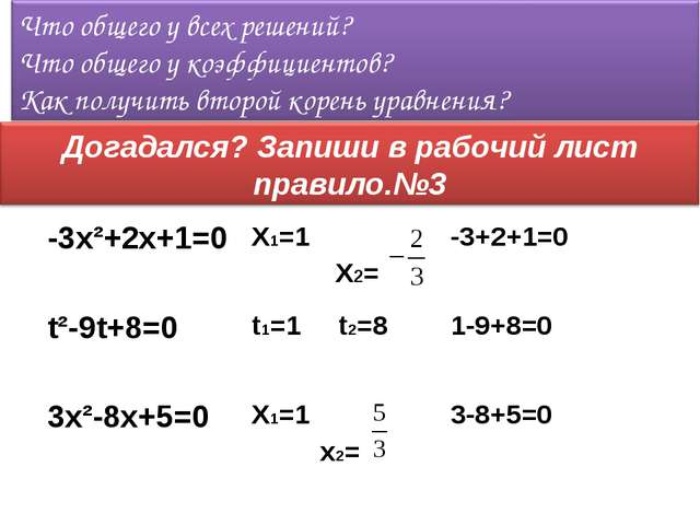 УравнениеКорниСвойство коэффициентов -3x²+2x+1=0 X1=1 X2=-3+2+1=0 t²-9t+8...