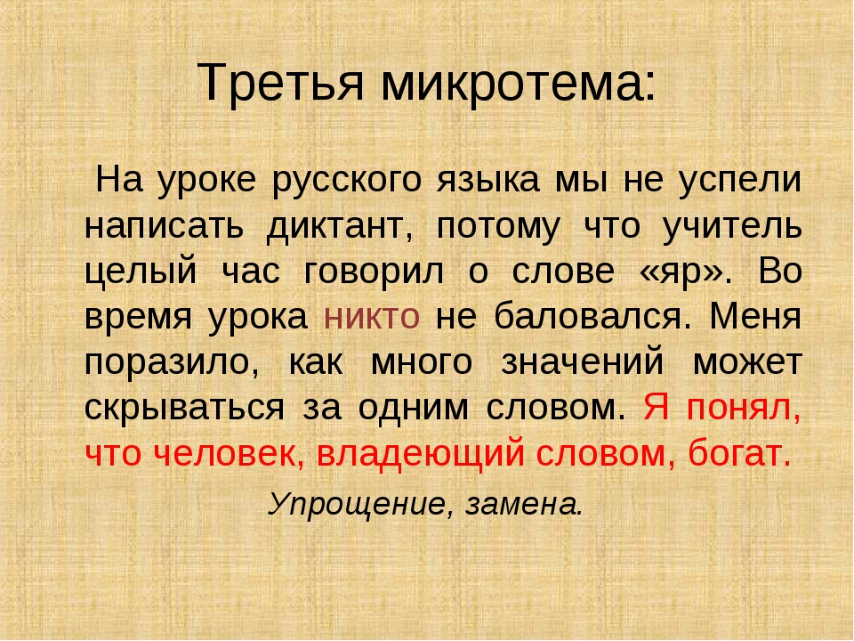 Третья микротема: На уроке русского языка мы не успели написать диктант, пото...