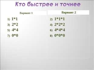 Вариант 1 Вариант 2 1) 1*1 3) 2*2 5) 4*4 7) 0*0 2) 1*1*1 4) 2*2*2 6) 4*4*4 8)