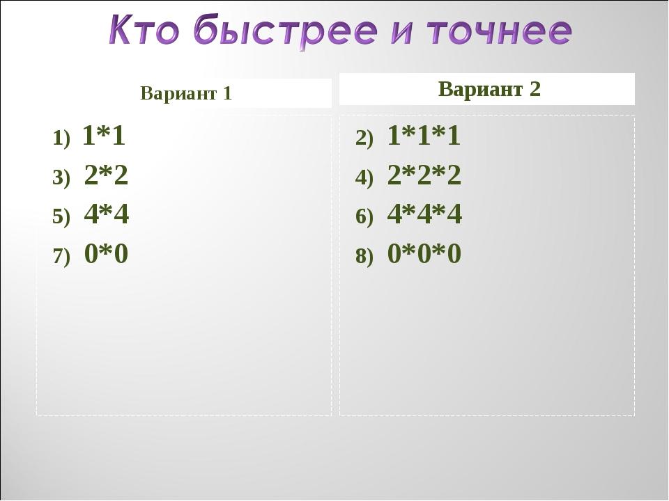 Вариант 1 Вариант 2 1) 1*1 3) 2*2 5) 4*4 7) 0*0 2) 1*1*1 4) 2*2*2 6) 4*4*4 8)...