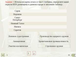 1 Задание 1 Используя карты атласа и текст учебника, определите какие отрасли