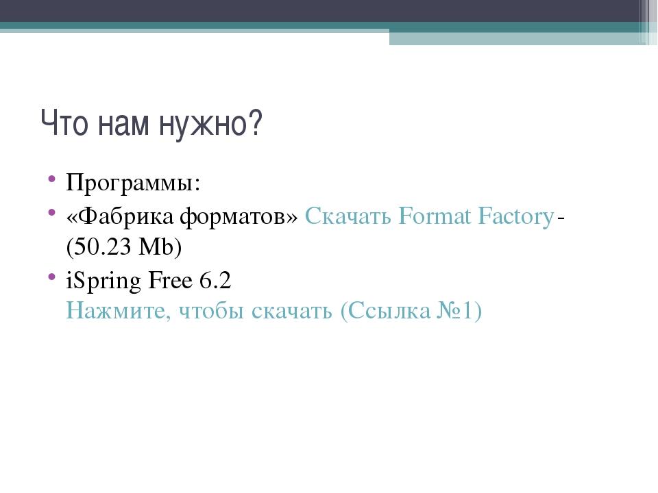 Что нам нужно? Программы: «Фабрика форматов» Скачать Format Factory- (50.23 M...