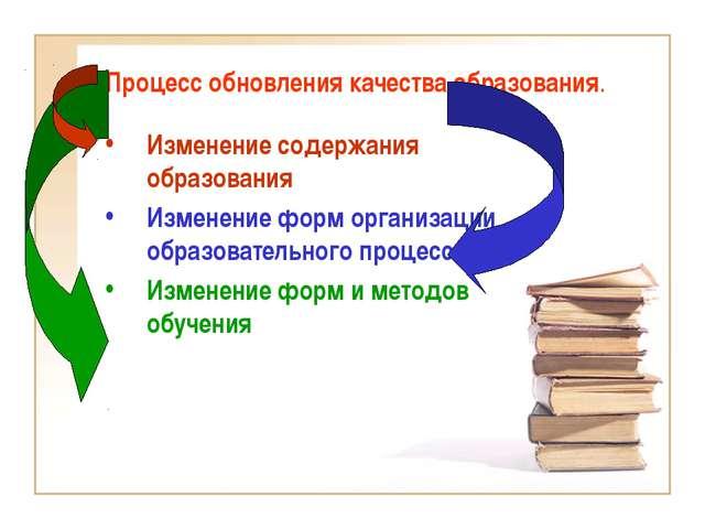 Процесс обновления качества образования. Изменение содержания образования Изм...