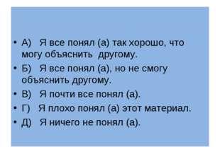 А) Я все понял (а) так хорошо, что могу объяснить другому. Б) Я все понял (а