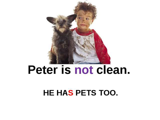 HE HAS PETS TOO. Peter is not clean.