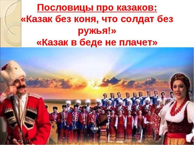 Пословицы про казаков: «Казак без коня, что солдат без ружья!» «Казак в беде...