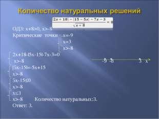 ОДЗ: x+8>0, x>-8 Критические точки x=-9 x=3 x>-8 2x+18-|5x-15|-7x-3=0 x>-8 -9