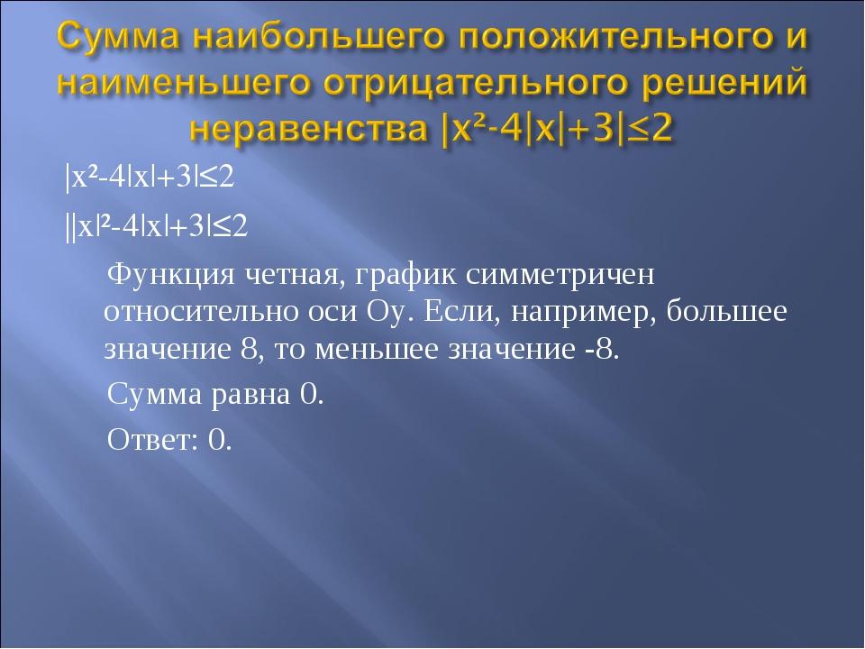 |x²-4|x|+3|≤2 ||x|²-4|x|+3|≤2 Функция четная, график симметричен относительно...
