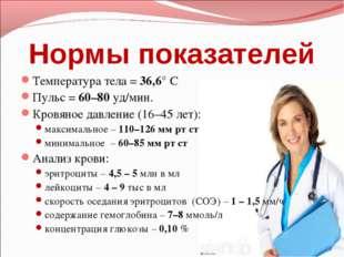 Нормы показателей Температура тела =36,6°С Пульс =60–80уд/мин. Кровяное д