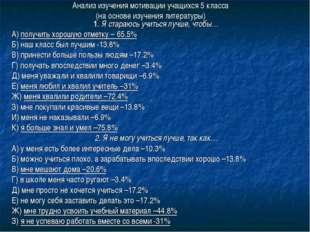 Анализ изучения мотивации учащихся 5 класса (на основе изучения литературы) 1