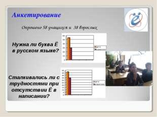 Анкетирование Опрошено 58 учащихся и 38 взрослых Нужна ли буква Ё в русском я