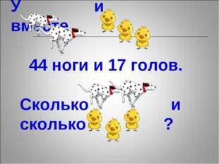 У и вместе 44 ноги и 17 голов. Сколько и сколько ?