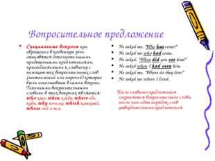 Вопросительное предложение Специальные вопросы при обращении в косвенную речь