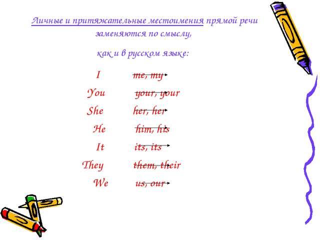 Личные и притяжательные местоимения прямой речи заменяются по смыслу, как и в...