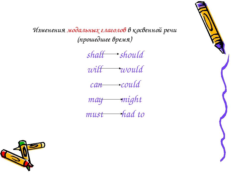 Изменения модальных глаголов в косвенной речи (прошедшее время) shall should...