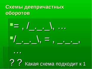 Схемы деепричастных оборотов = , /_._._\, … /_._._\, = , _._._, … ? ? Какая с