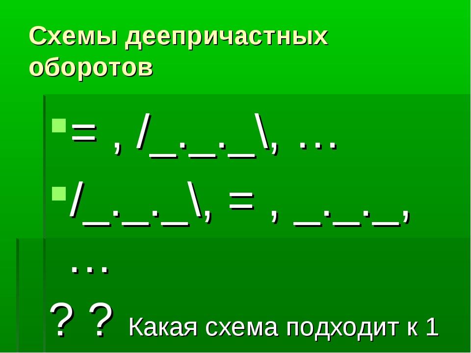 Схемы деепричастных оборотов = , /_._._\, … /_._._\, = , _._._, … ? ? Какая с...