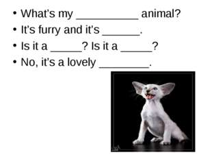 What's my __________ animal? It's furry and it's ______. Is it a _____? Is it