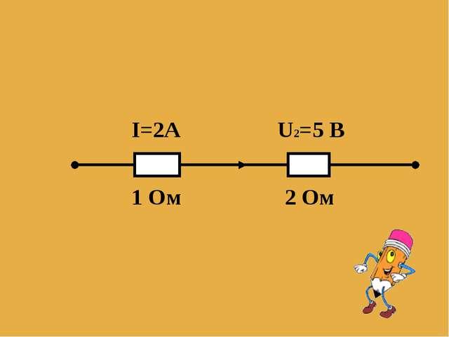 I=2А U2=5 B 1 Oм 2 Ом