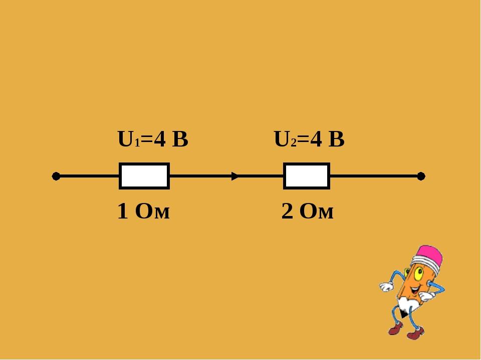 U1=4 B U2=4 B 1 Oм 2 Ом