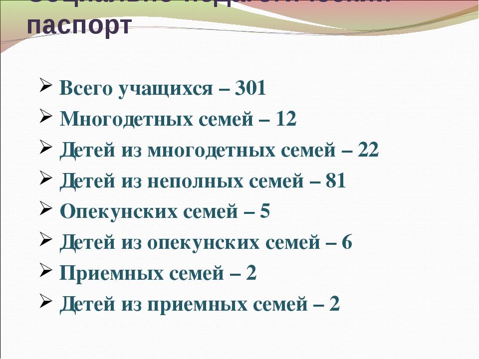 Социально-педагогический паспорт Всего учащихся – 301 Многодетных семей – 12...
