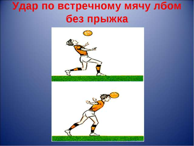 Удар по встречному мячу лбом без прыжка