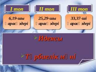 6,19-шы қарасөздері Идеясы Тәрбиелік мәні 25,29-шы қарасөздері 33,37-ші қарас