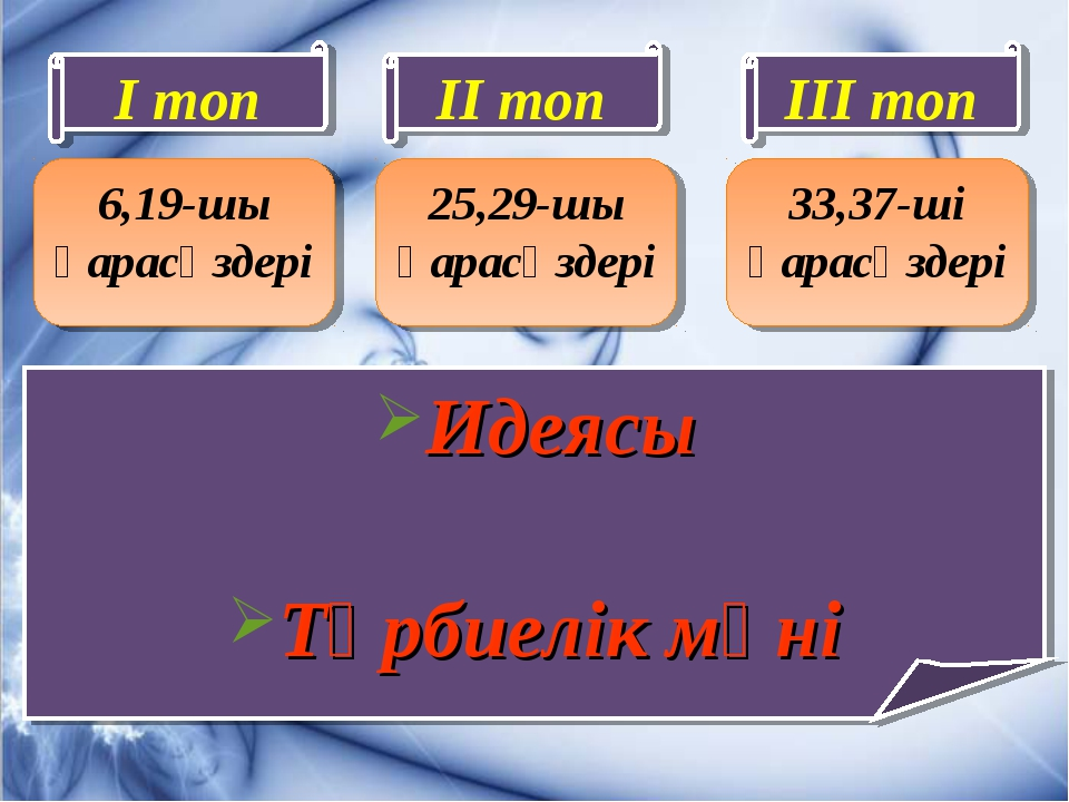 6,19-шы қарасөздері Идеясы Тәрбиелік мәні 25,29-шы қарасөздері 33,37-ші қарас...