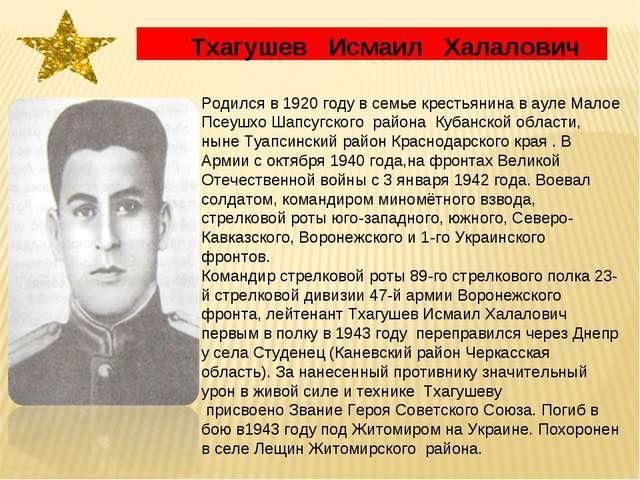 Тхагушев Исмаил Халалович Родился в 1920 году в семье крестьянина в ауле Мал...