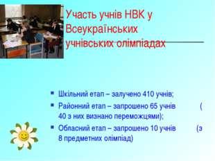 Участь учнів НВК у Всеукраїнських учнівських олімпіадах Шкільний етап – залуч