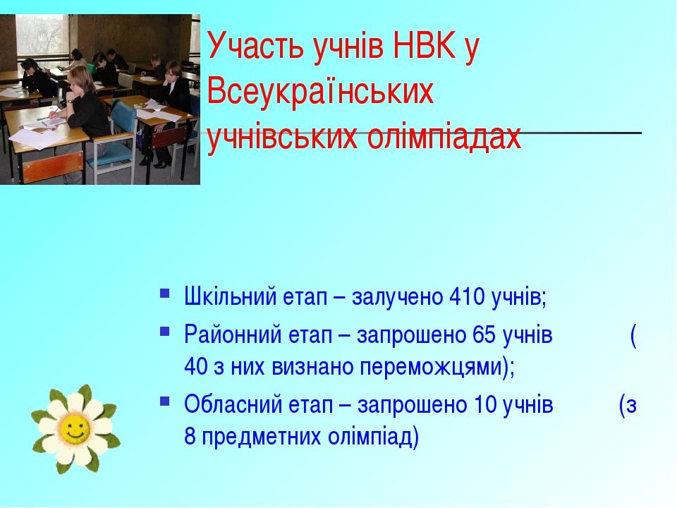 Участь учнів НВК у Всеукраїнських учнівських олімпіадах Шкільний етап – залуч...