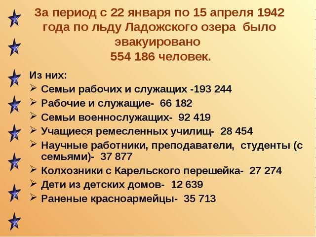 За период с 22 января по 15 апреля 1942 года по льду Ладожского озера было эв...