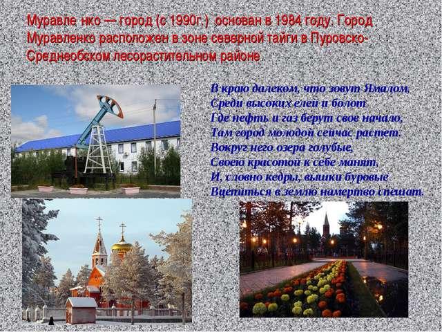 Муравле́нко — город (с 1990г.) основан в 1984 году. Город Муравленко располож...