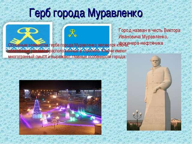Герб города Муравленко Город назван в честь Виктора Ивановича Муравленко, инж...