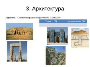 3. Архитектура Задание 9. Соотнеси страну и сооружение 5 (10) баллов 1 5 3 4