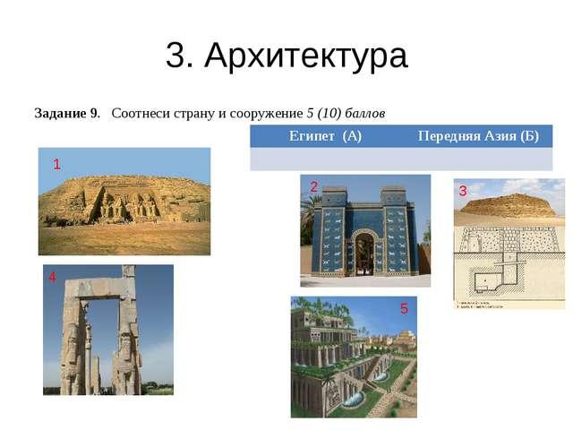 3. Архитектура Задание 9. Соотнеси страну и сооружение 5 (10) баллов 1 5 3 4...