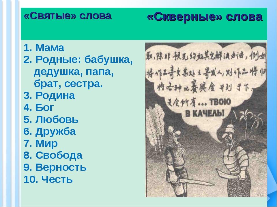 «Святые» слова «Скверные» слова 1. Мама 2. Родные: бабушка, дедушка, папа, б...