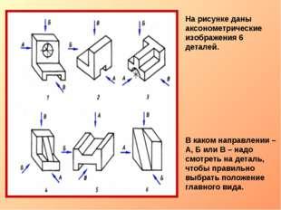 На рисунке даны аксонометрические изображения 6 деталей. В каком направлении