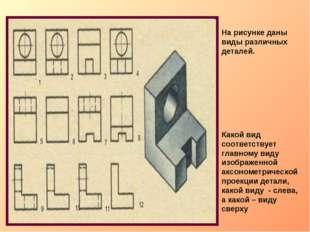 На рисунке даны виды различных деталей. Какой вид соответствует главному виду
